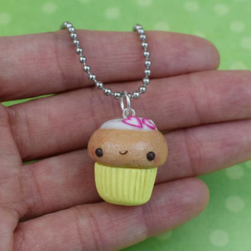 Kawaii Yellow Cupcake Necklace | Polymer Clay | Miniature Sweet Food | Handmade Gift | Charm Necklace | Cute Kawaii