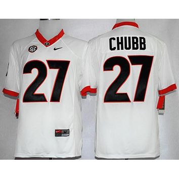 Original NIKE Georgia Bulldogs Nick Chubb 27 CollegeIce Hockey Limited Jerseys