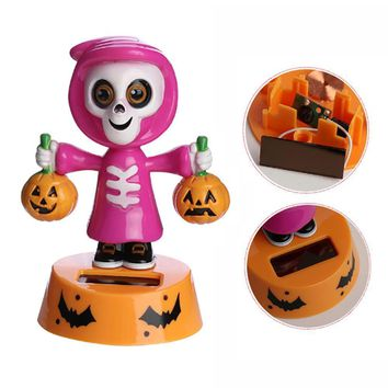 Innovative Halloween Swinging Animated Ghost Pumpkin Dolls Nice Gift For Halloween Solar Car Ornaments