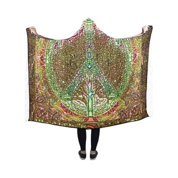 Hooded Blanket Peace Symbol Tree Of Life 50x40 Inch