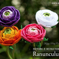 Crochet Ranunculus Pattern - Crochet Flower Pattern for Wedding Bouquets and Home Decoration - Crochet Pattern - DIY Bouquet