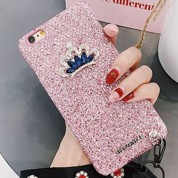 Rhinestone Crown iPhone X/7plus Mobile Shell Hard Shell F0221-1 pink