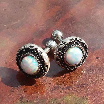 White Opal stainless steel 16g, 16 gauge cartilage, tragus, helix barbell earring (pair)