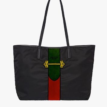Prada Womens Tessuto Ricamo Tote bag Red and Green 1BG065