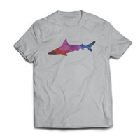 Geometric Polygon Great Big Shark Week Silver Tshirt