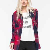 Full Tilt Extreme Fit Plaid Womens Flannel Shirt Navy  In Sizes