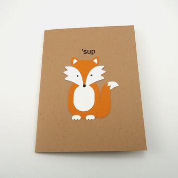 Fox Card, Whats Up Card, Sup, Blank Note Card, Woodland Animal, Kraft Card, Handmade Greeting Card