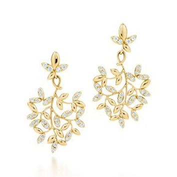 Tiffany & Co. -  Paloma Picasso® Olive Leaf drop earrings in 18k gold with diamonds, small.