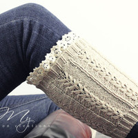 Women's Knit Boot Cuffs, Cable Knit Boot Cuff, Lace Boot Cuff, Leg Warmers, Boot Cuff, Oatmeal, Lace Boot Socks, Leg Warmers Women, Lace from My fashion creations