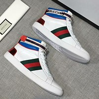 GUCCI GUCCY High Quality Men Fashion New Letter Stripe Leisure Leather Shoes White