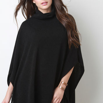Soft Knit Turtleneck Poncho Top