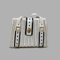 1960s Purse / Vintage White Wicker and Leather Purse, Box Purse, Preppy Mod Box Bag