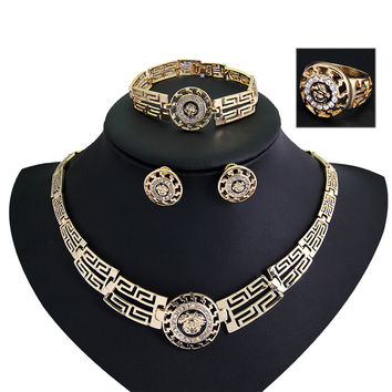 African Jewelry Sets 18K Gold Plated Statement Necklace Earrings Bracelet Ring Set For Women Crystal Jewelry Costume Accessory