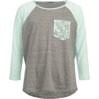Full Tilt Paisley Pocket Girls Basball Tee Grey Combo  In Sizes