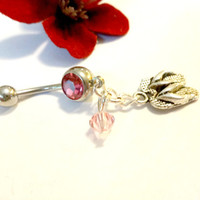 Adorable Flip Flop Charm Belly Button Ring, Pink Tourmaline and Swarovski Summer Navel Ring