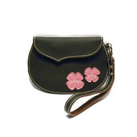Brown leather wristlet clutch Small handbag pink felt flowers leather wristlet pouch