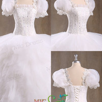 Jewel Short sleeves Ball gowns tulle tiered wedding dress