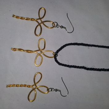 Yellow wire twist wrapped cross necklace and earring jewelry set