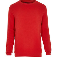 River Island MensRed waffle textured sweater
