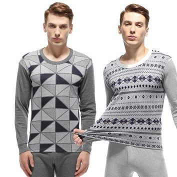 DCCKJG2 Fashion Geometric Jacquard Cotton Long Johns Set Pajamas Men High Quality Warm Winter Long Sleeve Thermal Clothing Men Underwear