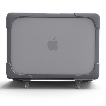 Newest Design Shockproof HardShell Case with Stand for MacBook air 11 13 Pro 13 15 Retina 12 13 15 Plastic & TPU Snap On Case
