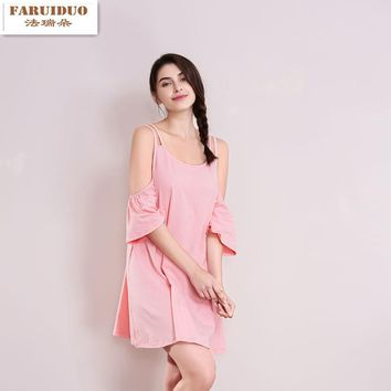 Summer Women Nightdress Women Sexy Sling Round neck Sleepshirts Female Sweet Girl Nightgowns Pink Sleepwear
