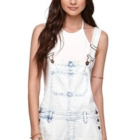 Bullhead Denim Co Reflection Shortalls - Womens Shorts - Blue -