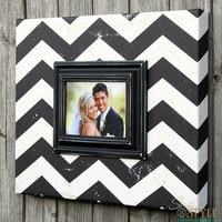 Black and White Chevron Picture Frame Canvas,  Chevron Picture Frame, Vintage Distressed Frame, Holds 5x7 Photo