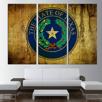 Texas seal flag Canvas Print wall art, extra large wall art, old flag wall art, vintage texas flag wall art contemporary wall decor t175