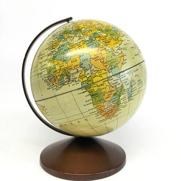 Vintage Globe Bank, Metal Globe Bank, The Revere Globe Bank, Replogle Globe Bank, 1970s Office, Vintage Office Decor, World Globe Vintage