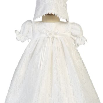 Floral Lace Tulle Overlay Christening Dress with Empire High Waist (Baby Girls Newborn - 18 months)