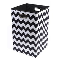 Modern Littles Bold Chevron Folding Laundry Basket, Black