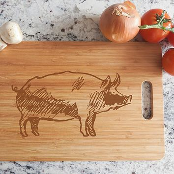 ikb326 Personalized Cutting Board Wood pork pig meat food restaurant
