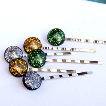 Hair clip set, Gliter hair clip, Gliter Accessories, Green, Silver, Yellow gliter, Bobby Pin, Jewelry set, Glitter jewelry, Green jewelry