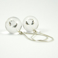 Zirconia Earrings, Clear Resin Earrings with Small Round Zirconias and Sterling Silver