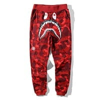 BAPE AAPE Popular Women Men Casual Camouflage Running Sport Pants Trousers Sweatpants Red