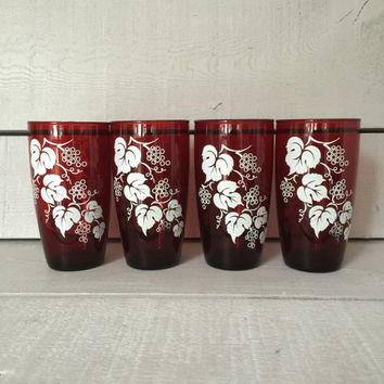 Ruby Red Glass Tumblers - Anchor Hocking - Set of Four, Vintage Red Glasses - White Grapevine Motif, Wedding Gift