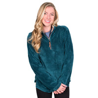 Pebble Pile Pullover 1/2 Zip in Turquoise by True Grit