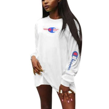 Champion Fashion New Bust Logo Print And Sleeve Letter Print Leisure Long Sleeve Top Dress White