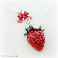 Bling strawberry phone plug charm, earphone jack charm for iPhone Smartphone, teen girl accessory