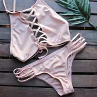 venice high neck crop bikini set in blush