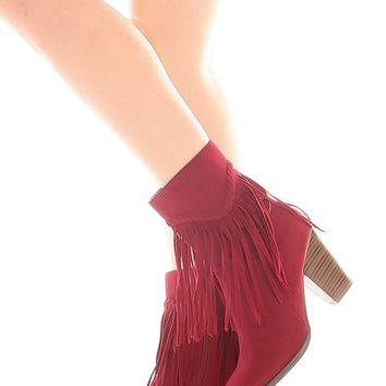 WINE FRINGE ACCENT SIDE ZIPPER SUEDE MATERIAL BOOTS