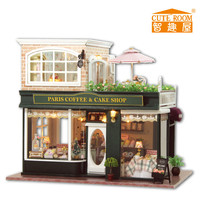 24th DIY Wooden Handmade Doll House 3D Model Kit Miniatures Dollhouse-Provence coffee Shop/ English instruction&Furnitures