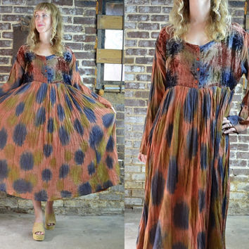 Vintage 90's Velvet  Batik Tye Die & Indian Cotton Bohemian Neo Folk Maxi Dress