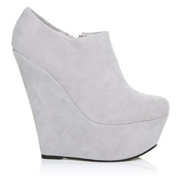 TINA Grey Faux Suede Wedge Very High Heel Platform Ankle Shoe Boots