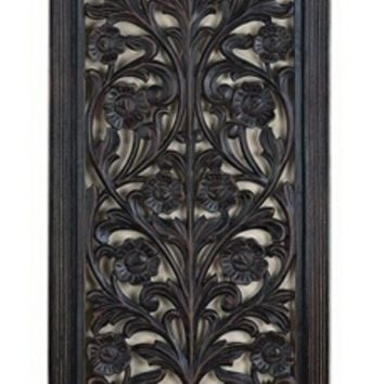"63"" Ebony Black Hand Carved Wood wall Decor Sculpture"