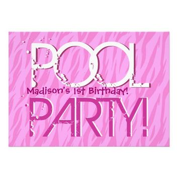 1st Birthday Pool Party Pink Zebra Waves Template Custom Invites from Zazzle.com