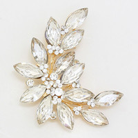 Leaf Pave Pin Brooch/ Pendant