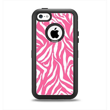 The Pink & White Vector Zebra Print Apple iPhone 5c Otterbox Defender Case Skin Set