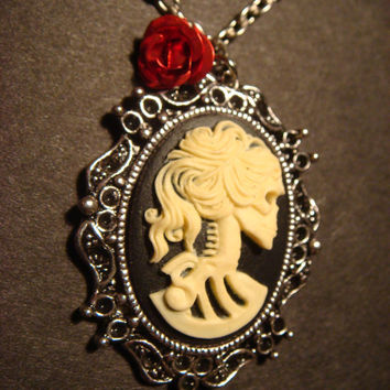 Steampunk Necklace - 3D Skeleton Goddess with Red Rose - Lolita - Goth - Victorian-Antiqued Silver